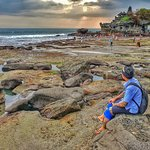Tanah lot temple has beautiful sunset view