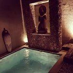 Private plunge pool at night.