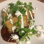 Creative ingredients: Braised Pork Belly with Salsa Roja, Popped Corn and Pea Shoots