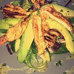 Our famous Chicken and avocado salad with Lime and olive oil dressing