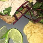 Our famous open sandwich with Chicken and Avocado