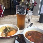 Small plate haggis and mash with soup and a pint!