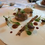 Quail breast and Xeres jelly: Cream of foie gras, dried duck juice, cereales, king mushrooms, br