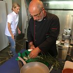 Giorgos and Dina getting veggies ready for the next dish