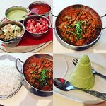Dips, Lamb Balti with Spinach & Mushroom & boiled rice, followed by a Pistachio Kulfi ice-cream
