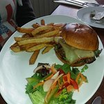 Cheeseburger and slightly undercooked chips