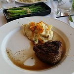 Filet Mignon with mashed potatoes & asparagus.