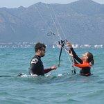 kitestudent and kite pupil Mallorca kiteschool kite course in August