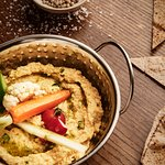 hummus, spring vegs, hazelnut pesto