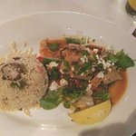 Stuffed calamari with mushroom rice