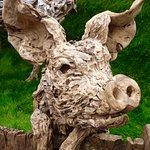 Pig's head wood sculpture