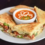 Made in-house, fresh Jalapeno Grilled Cheese and Tomato Soup