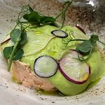 Sea Trout Rilette with pea mousse
