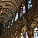 Numerous beautiful stained glass windows from the 14th century