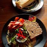Salmon burrito and mushrooms on toast - delicious
