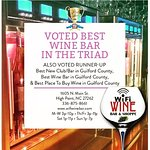 Voted Best Wine Bar in the Triad by Yes! Weekly