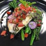 Pan seared Haddock with local greens and fresh salsa