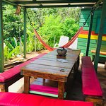 Dining/hangout area (smoking) - sun loungers/chairs and hammock overlooking our 5 hammock garden