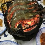 Grilling prawns