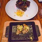 Panfried pork gyoza and the Sticky Ribs