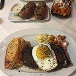NY Strip Farina Style, Crab and Shrimp Mac N Cheese, Roasted Sweet Potatoes,Double Baked Truffle