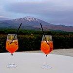 View towards Mt. Etna with Aperol Spritz (photo: David Hawkes)