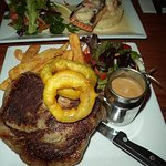 beautifully cooked sirloin with Dianne sauce