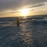 Refreshing sunset swim