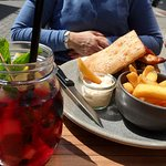 A nice homemade fruitdrink and a lovely ClubSandwich