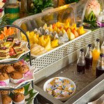 Restaurant/Sala Chhan/Full Buffet Breakfast/Fruits cut/Juices/Breads/cold cut/Salad
