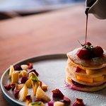 Rise & Shine - Stacked Pancake with fresh cut fruits