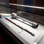 A display of The King of England's scepture and sword.