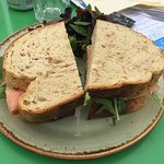 Salmon and avocado on granary sandwich