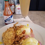 Eggs Stella - Cornmeal-Crusted Soft-Shell Crab, Poached Eggs, Canadian Bacon, and Hollandaise