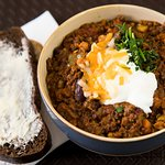 Best Chili In Victoria. Served with 5 fresh toppings and portofino bread