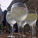Gin and tonics served in the courtyard