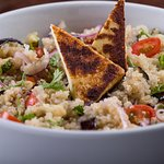 Quinoa salad w/ grilled veggies, red onions, almonds and coalho cheese