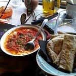 Appetizer, feta fondue, calamari and orzo pasta, chocolate mosaic