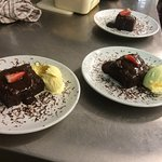 Chocolate brownie and Purbeck Ice cream