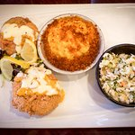 Salmon Croquettes, Mac and Cheese, and Cole Slaw
