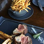 Rack of lamb with truffle-garlic match stick fries