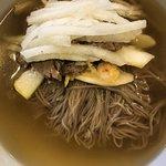 Jeon Tong Pyong Yang Naeng Myeon (chilled beef broth)