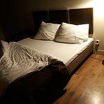 low bed; mattress and linen were ok; pillows a bit funky