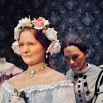 Lifelike Mary Lincoln manikin dresses for the inauguration.