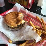 Split your order of fries with someone, the burger is the star here.