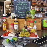 Our Bloody Mary bar set up for Sunday brunch. We open at 10 AM every Sunday serving brunch and l