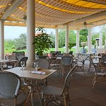 Outdoor dining at The Café is available for lunch from 12 pm - 4 pm and for dinner from 5 pm - 8