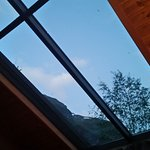 Glass celing with a view to the mountains