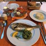 Grilled fish + seasonal salad & rice