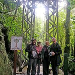 Standing by one of the hanging bridges